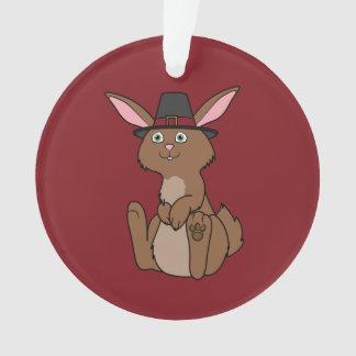 Thanksgiving Brown Rabbit with Pilgrim Hat Ornament