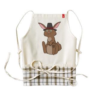 Thanksgiving Brown Rabbit with Pilgrim Hat Zazzle HEART Apron