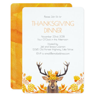 Thanksgiving Buck and Autumn Leaves Invitation