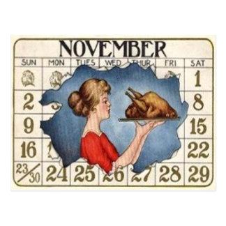 Thanksgiving Calendar Postcard