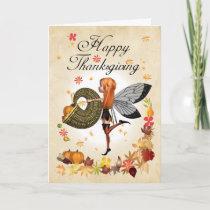 Thanksgiving Card - Cute Little Pumpkin Fairy