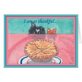 Thanksgiving card, dog & cat planning a pie heist card