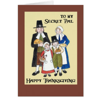 Thanksgiving Card with Pilgrims for a Secret Pal