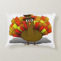 Thanksgiving Cartoon Turkey Pilgrim Accent Pillow