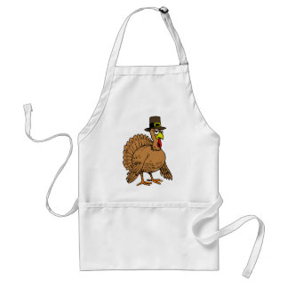 Thanksgiving Cartoon Turkey Pilgrim Adult Apron