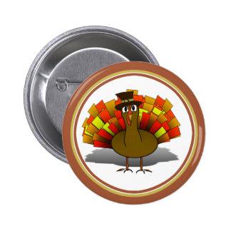 Thanksgiving Cartoon Turkey Pilgrim 2 Inch Round Button