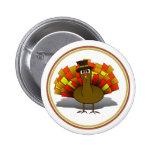 Thanksgiving Cartoon Turkey Pilgrim Buttons