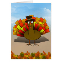 Thanksgiving Cartoon Turkey Pilgrim Card