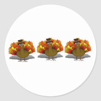 Thanksgiving Cartoon Turkey Pilgrim Classic Round Sticker