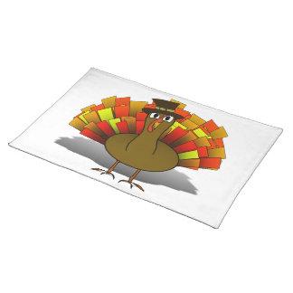 Thanksgiving Cartoon Turkey Pilgrim Cloth Placemat