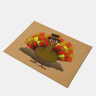 Thanksgiving Cartoon Turkey Pilgrim Doormat
