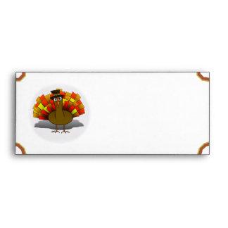 Thanksgiving Cartoon Turkey Pilgrim Envelope