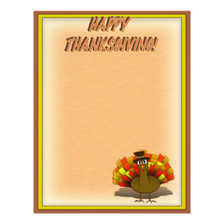 Thanksgiving Cartoon Turkey Pilgrim Flyer