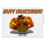 Thanksgiving Cartoon Turkey Pilgrim Greeting Cards