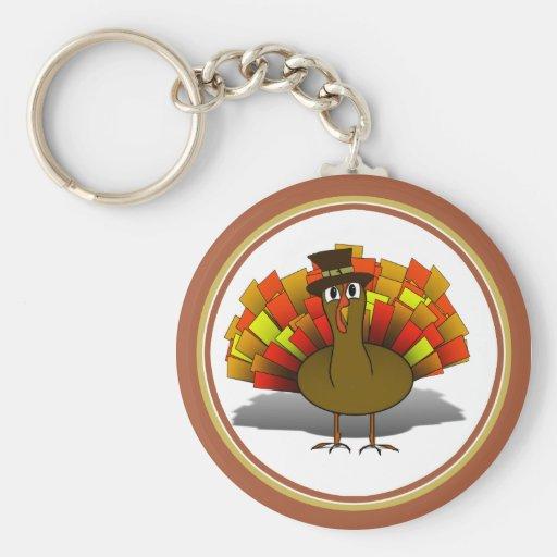 Thanksgiving Cartoon Turkey Pilgrim Keychain