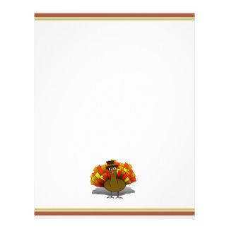 Thanksgiving Cartoon Turkey Pilgrim Letterhead Template