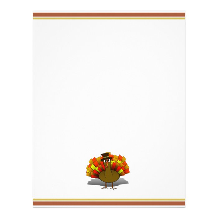 Thanksgiving cartoon turkey pilgrim letterhead zazzle for Thanksgiving letterhead
