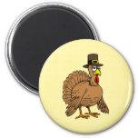 Thanksgiving Cartoon Turkey Pilgrim 2 Inch Round Magnet