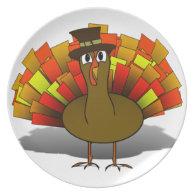 Thanksgiving Cartoon Turkey Pilgrim Melamine Plate