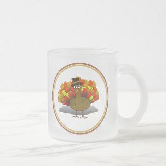 Thanksgiving Cartoon Turkey Pilgrim 10 Oz Frosted Glass Coffee Mug