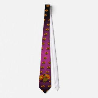 Thanksgiving Cartoon Turkey Pilgrim Neck Tie