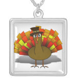 Thanksgiving Cartoon Turkey Pilgrim Custom Necklace