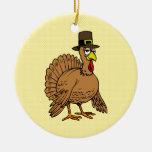 Thanksgiving Cartoon Turkey Pilgrim Double-Sided Ceramic Round Christmas Ornament