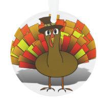 Thanksgiving Cartoon Turkey Pilgrim Ornament
