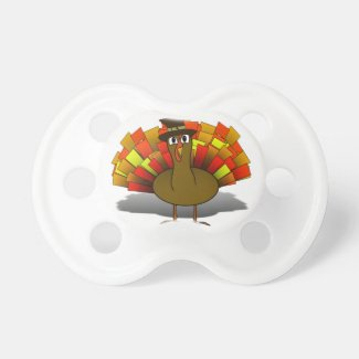 Thanksgiving Cartoon Turkey Pilgrim Pacifier