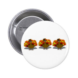 Thanksgiving Cartoon Turkey Pilgrim Pinback Button