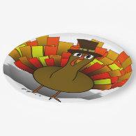 Thanksgiving Cartoon Turkey Pilgrim 9 Inch Paper Plate