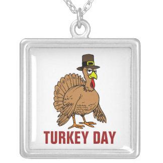 Thanksgiving Cartoon Turkey Pilgrim Square Pendant Necklace