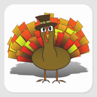 Thanksgiving Cartoon Turkey Pilgrim Square Sticker