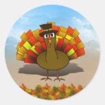 Thanksgiving Cartoon Turkey Pilgrim Classic Round Sticker