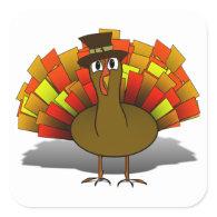 Thanksgiving Cartoon Turkey Pilgrim Sticker