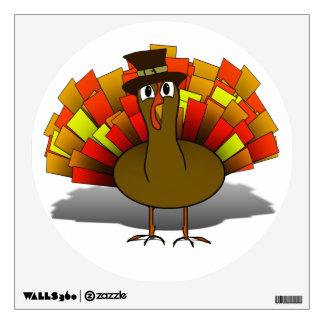 Thanksgiving Cartoon Turkey Pilgrim Wall Decal