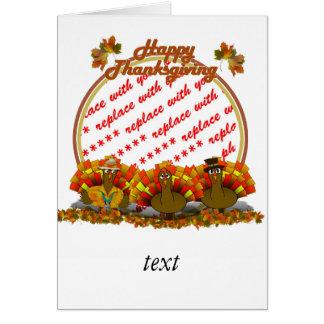 Thanksgiving Cartoon Turkey Trio Photo Frame Greeting Card