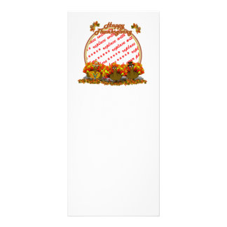 Thanksgiving Cartoon Turkey Trio Photo Frame Personalized Rack Card