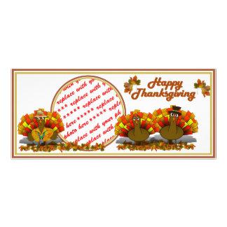 Thanksgiving Cartoon Turkey Trio Photo Frame Rack Card Template