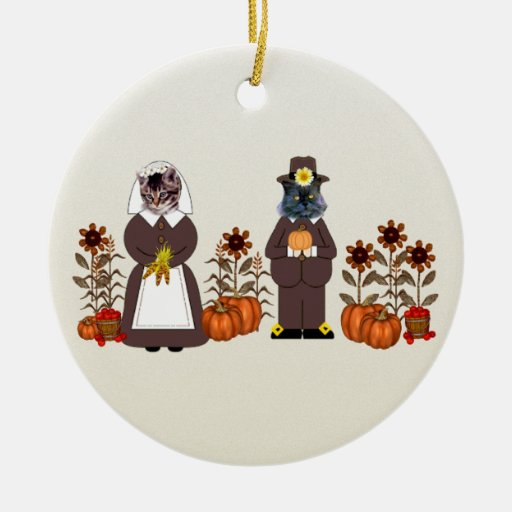 Thanksgiving Cats Ceramic Ornament