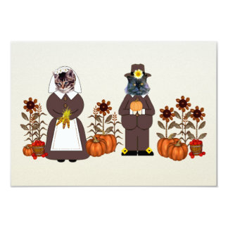 Thanksgiving Cats 3.5x5 Paper Invitation Card