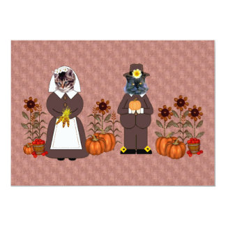 Thanksgiving Cats 5x7 Paper Invitation Card