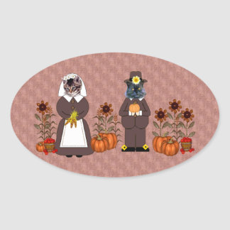 Thanksgiving Cats Oval Sticker