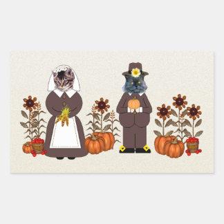 Thanksgiving Cats Rectangular Sticker