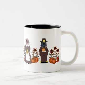 Thanksgiving Cats Two-Tone Coffee Mug