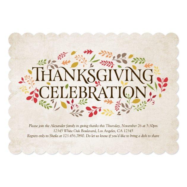 Thanksgiving Celebration Foliage Invitation