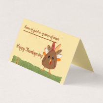 Thanksgiving Celebration, with Cartoon Turkey Place Card