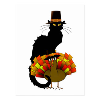 Thanksgiving Chat Noir with Turkey Post Cards