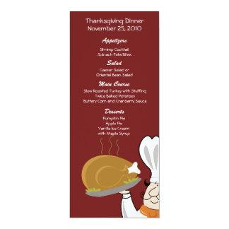 Thanksgiving Chef Turkey Day Customized Menu Card