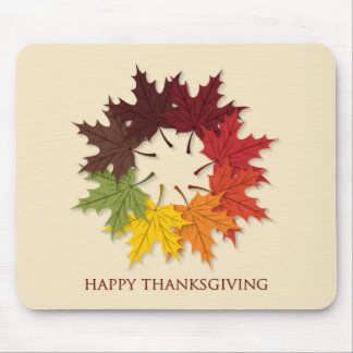 Thanksgiving circle of leaves mouse pad